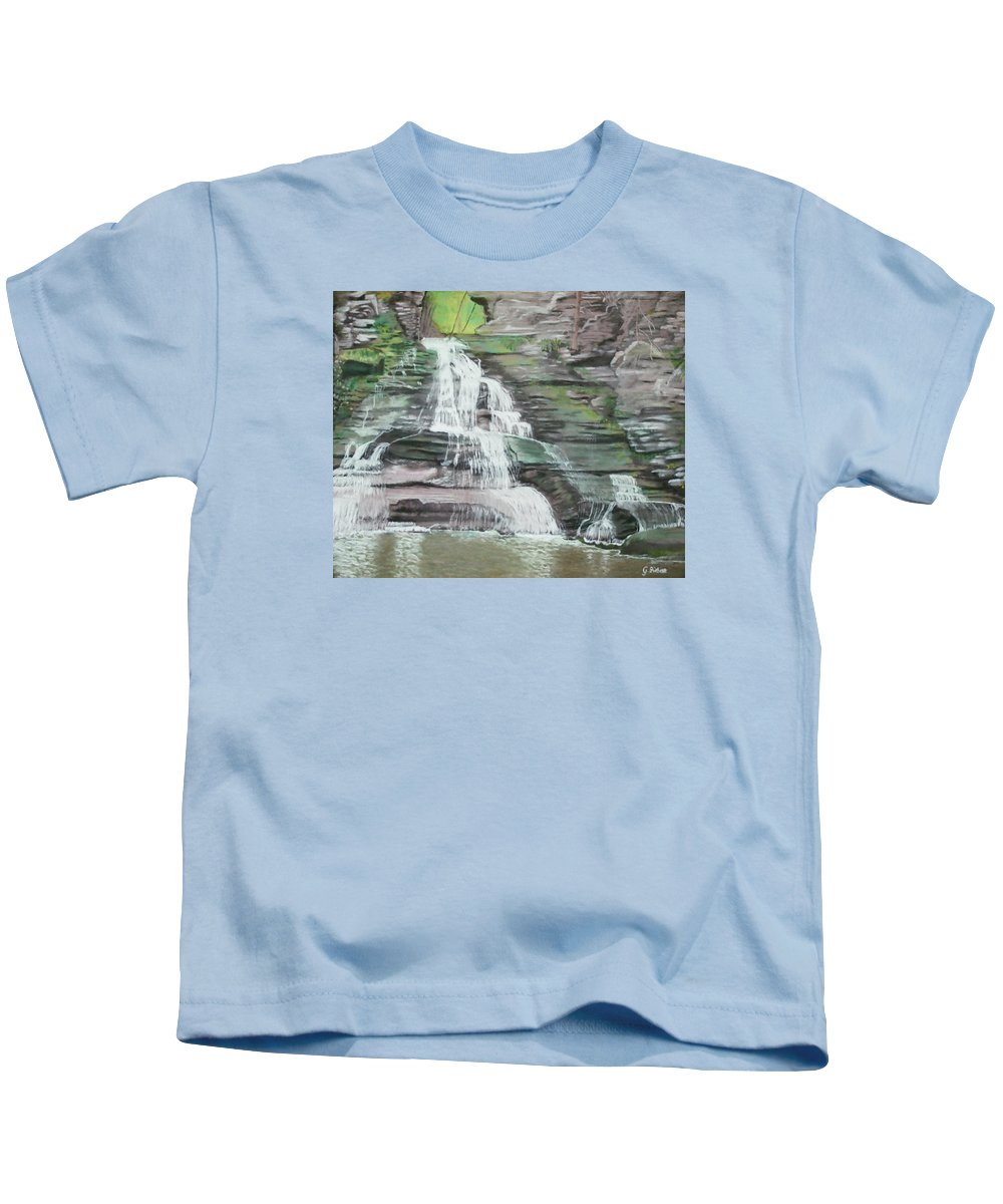 Waterfall Kids T-Shirt featuring the pastel Sparkling Falls by Gabriele Ziebart