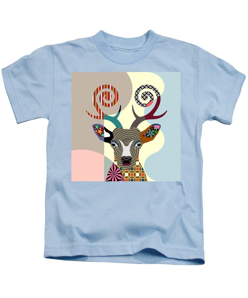 Deer Kids T-Shirt featuring the digital art Spectrum Deer by Lanre Studio