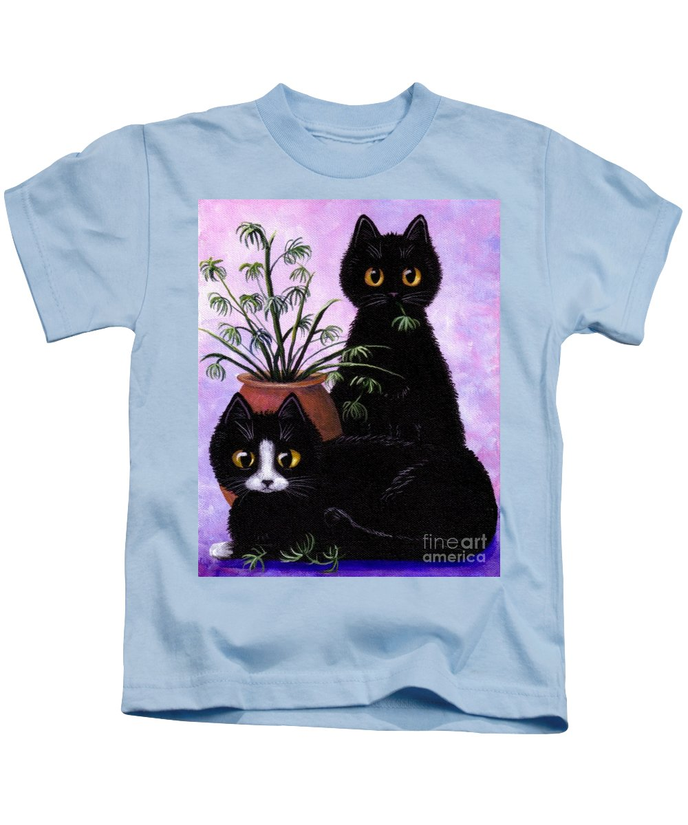 Black Cat Kids T-Shirt featuring the painting Spider Plant by Lisa Adams