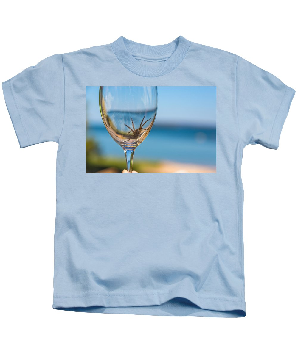 Beach Kids T-Shirt featuring the photograph Spider Wine by Allegory Imaging