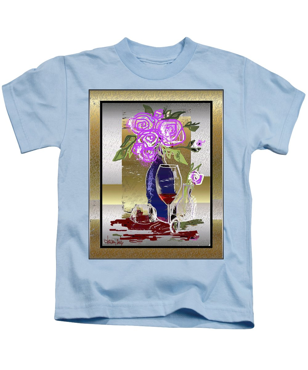 Kids T-Shirt featuring the digital art Spilled Wine by Larry Talley