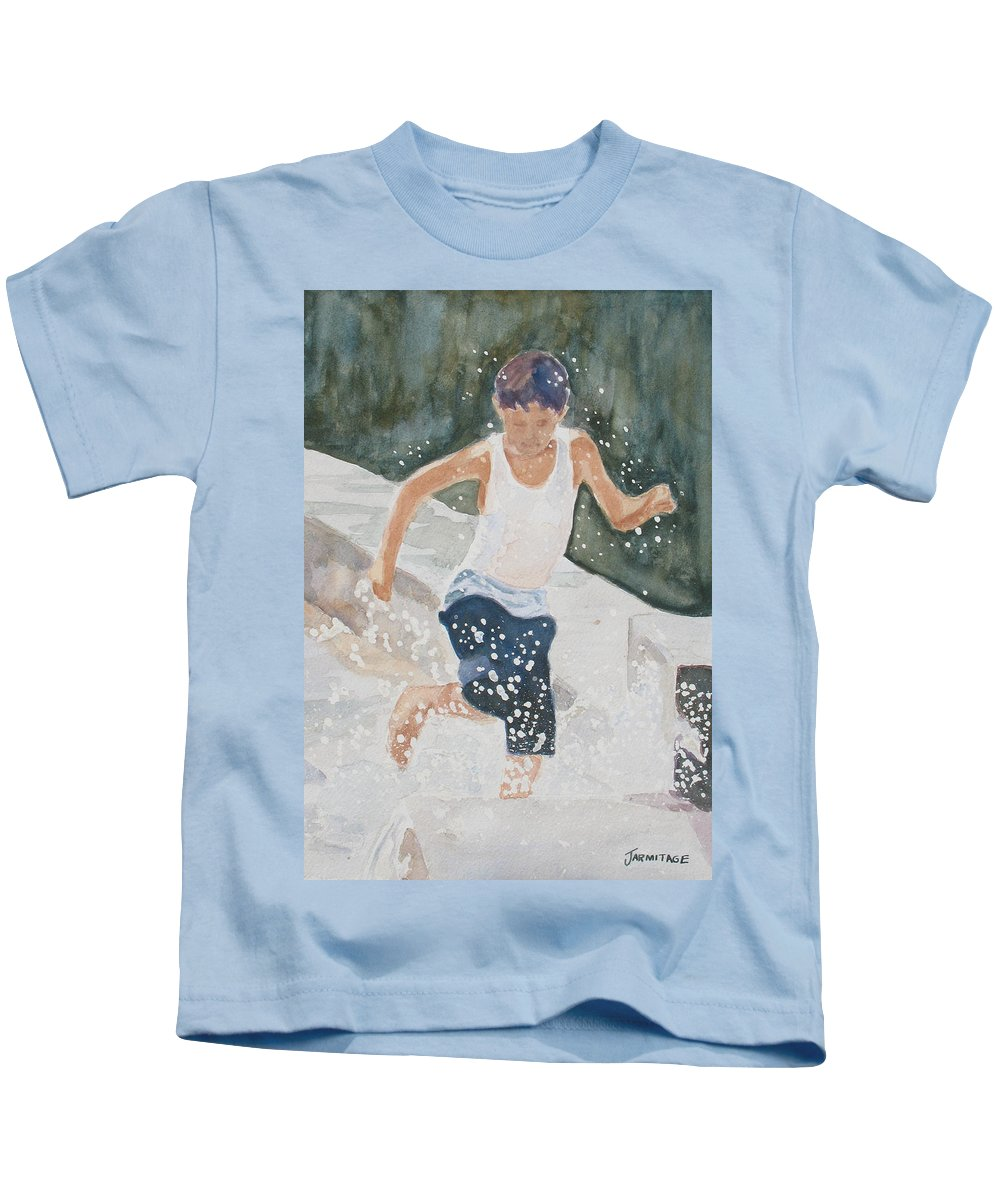 Boy Kids T-Shirt featuring the painting Splash Dance by Jenny Armitage