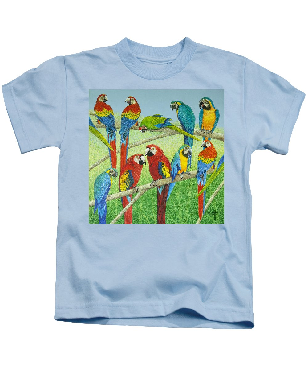 Parrot Kids T-Shirt featuring the painting Spreading The News by Pat Scott