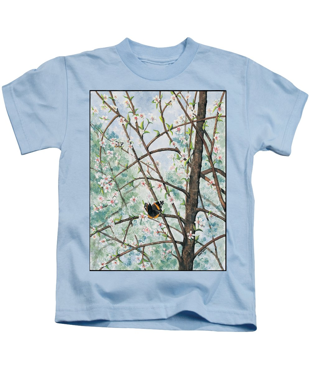 Butterfly Kids T-Shirt featuring the painting Spring Blossom by Mary Tuomi