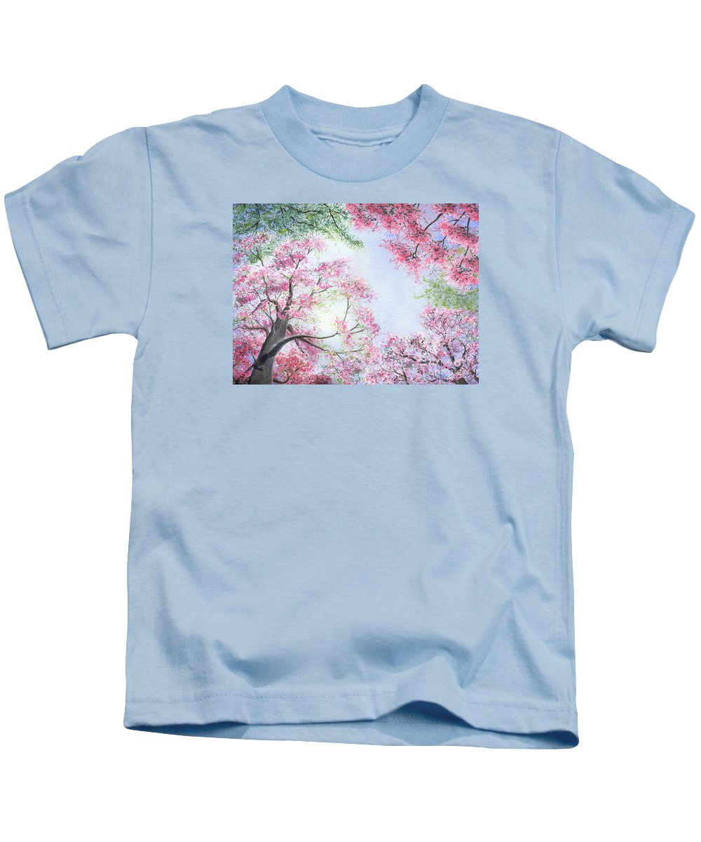 Tree Blossoms Kids T-Shirt featuring the painting Spring Blossoms by Lynn Quinn