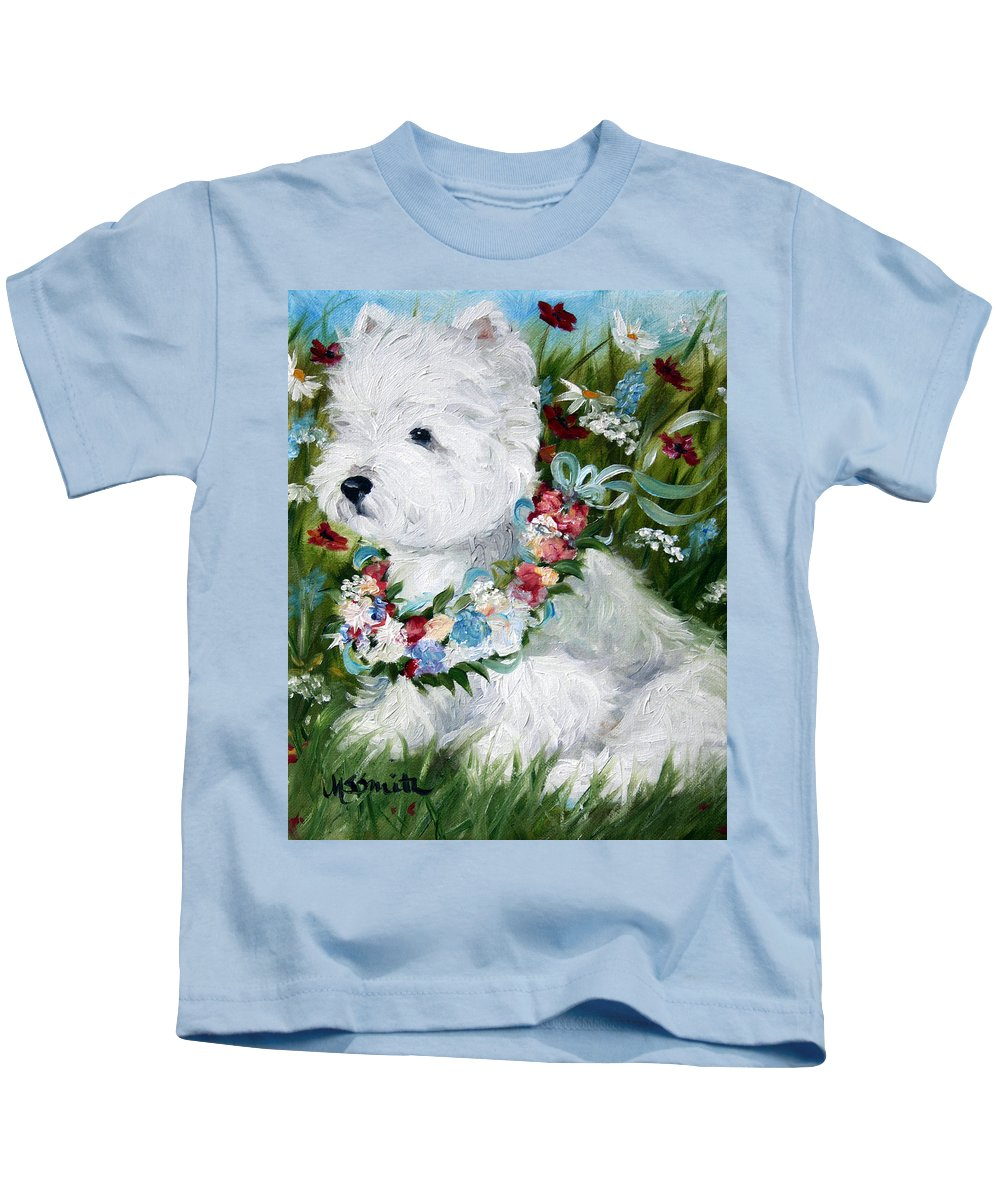 Art Kids T-Shirt featuring the painting Spring Breezes by Mary Sparrow