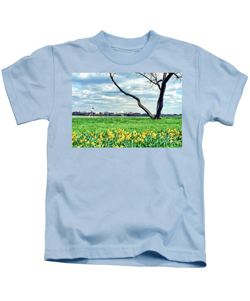 Jefferson Kids T-Shirt featuring the photograph Spring Jog On The Potomac by Allen Beatty