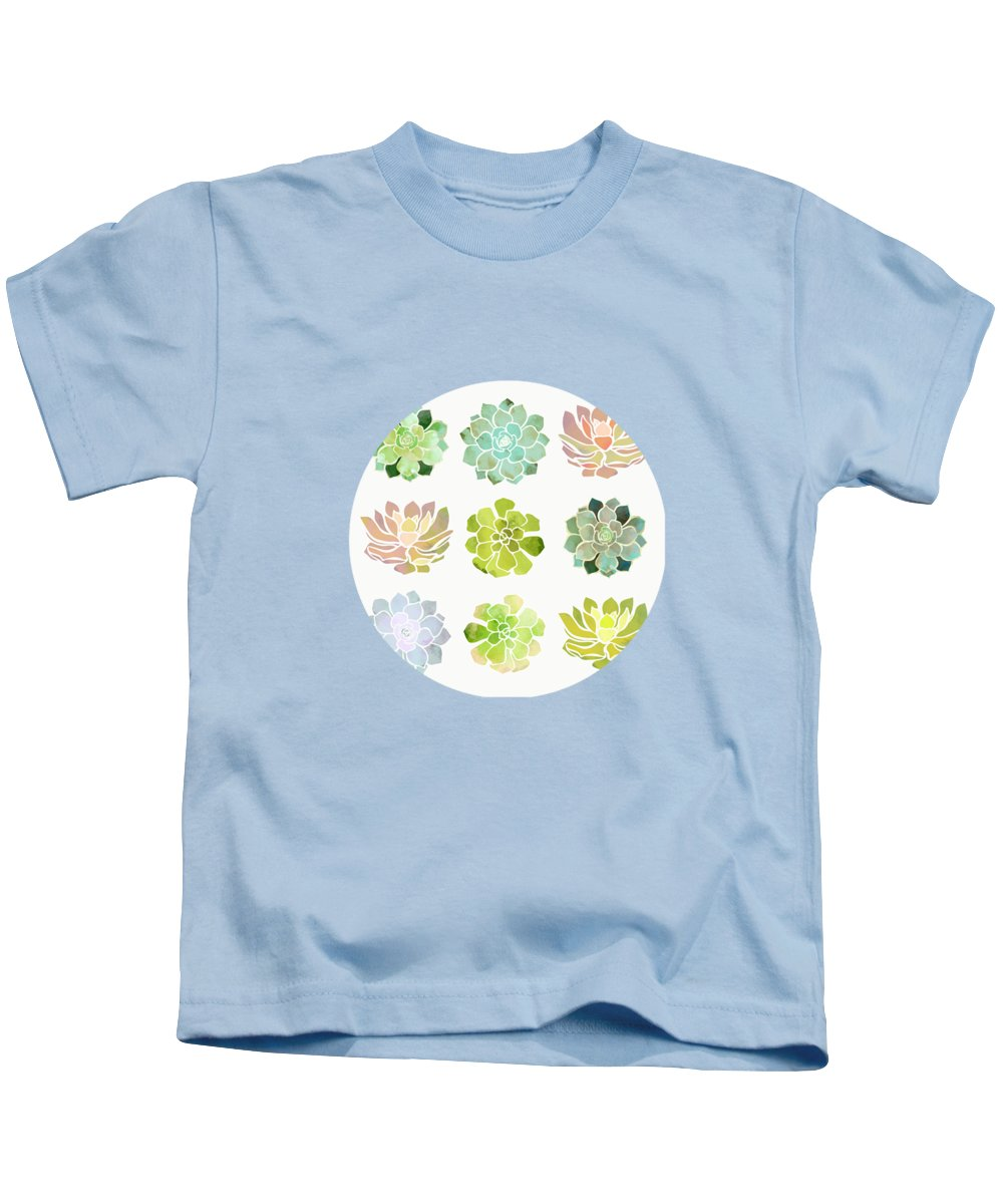Spring Kids T-Shirt featuring the digital art Spring Succulents by Spacefrog Designs