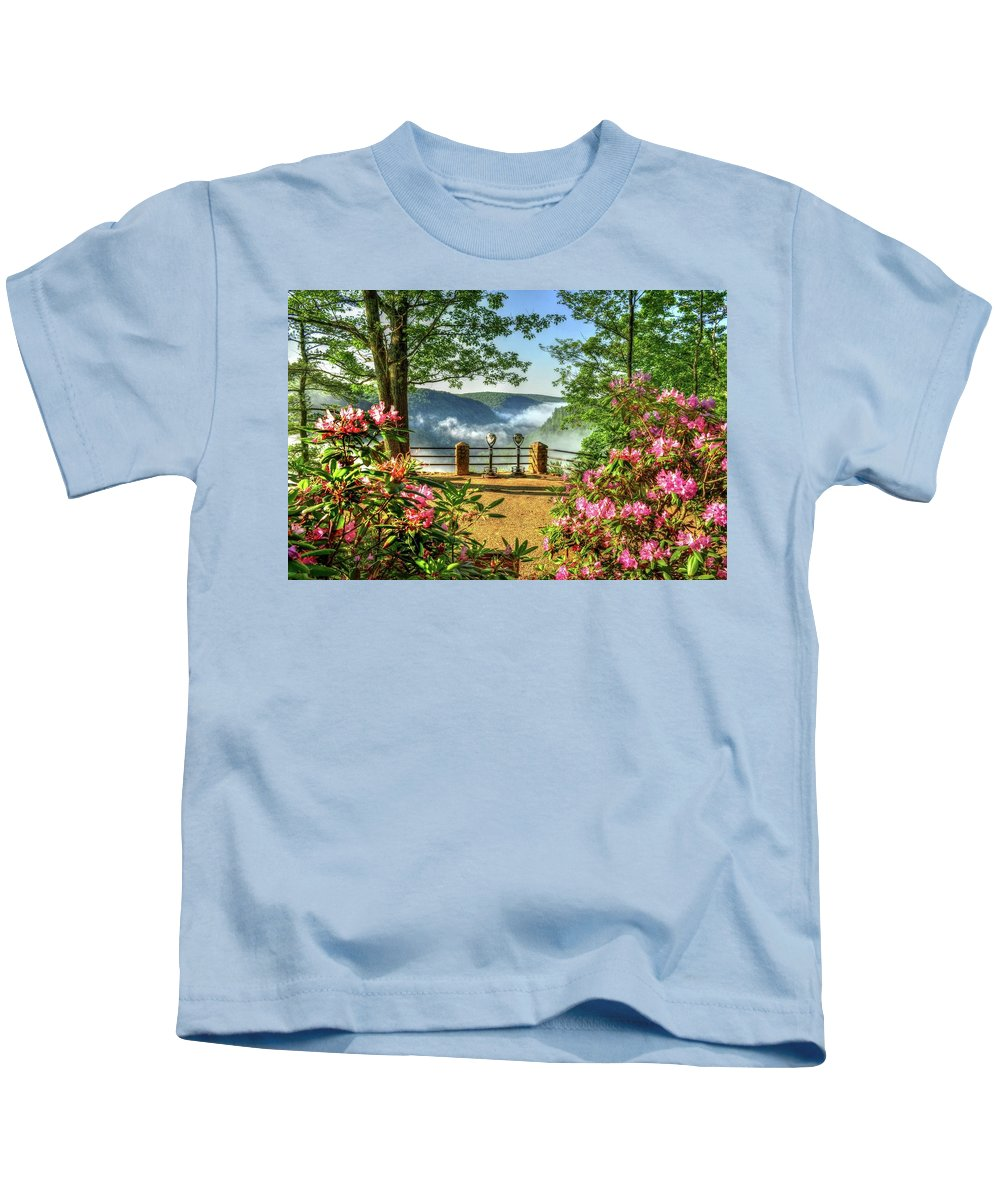 Statepark Tiogacounty Coltonpoint Pagrandcanyon Wellsboro Pennsylvania Kids T-Shirt featuring the photograph Spring Time At Colton Point State Park by Bernadette Chiaramonte