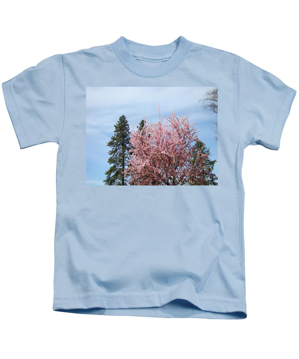 Trees Kids T-Shirt featuring the photograph Spring Trees Bossoming Landscape Art Prints Pink Blossoms Clouds Sky by Baslee Troutman