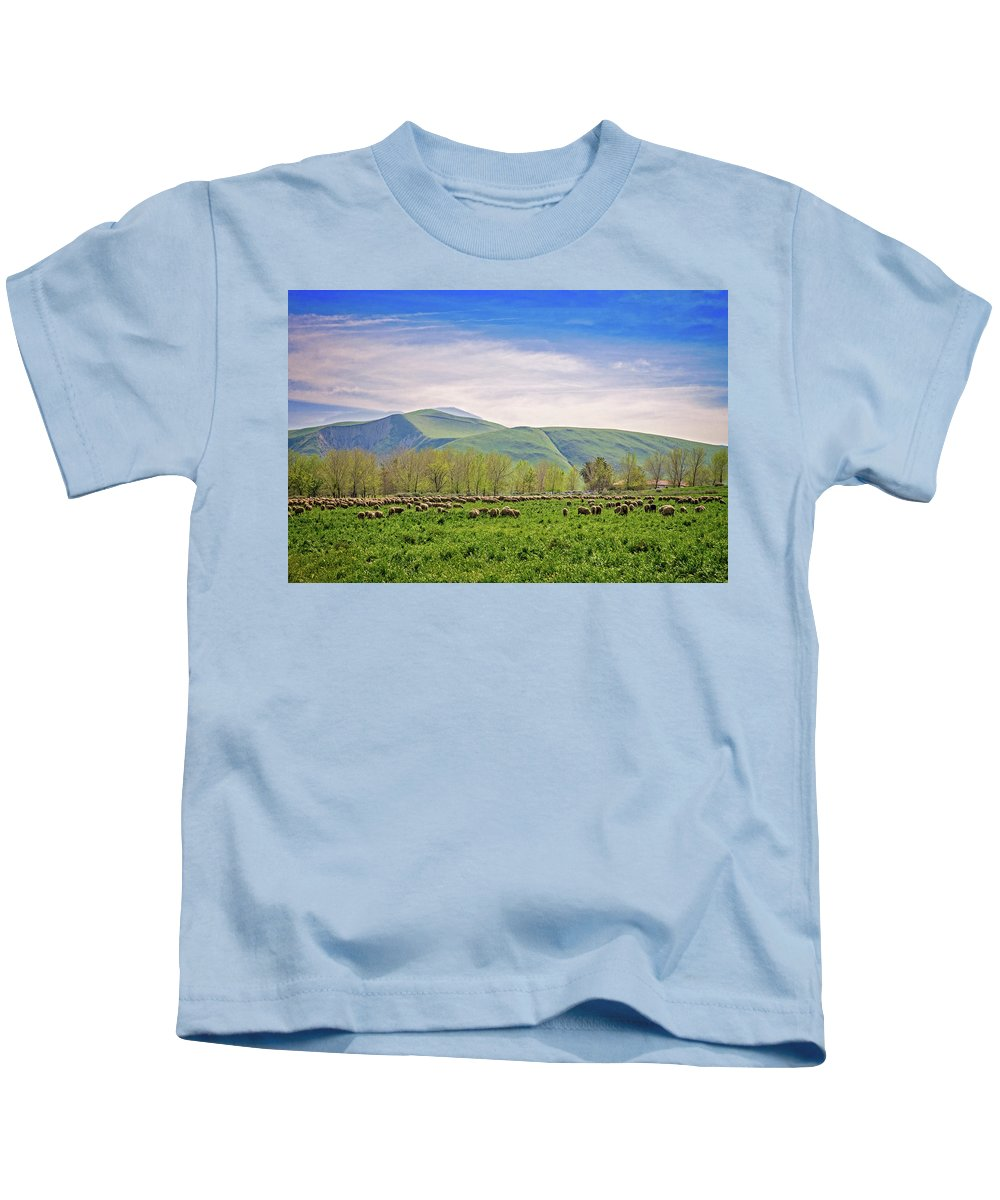 Wind Wolves Preserve Kids T-Shirt featuring the photograph Springtime Grazing by Lynn Bauer