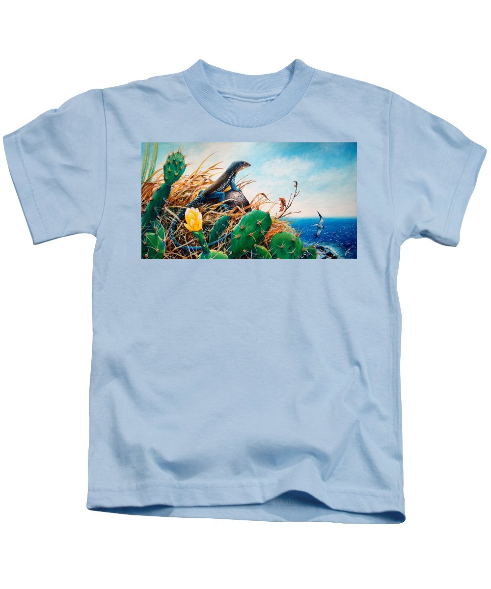 Chris Cox Kids T-Shirt featuring the painting St. Lucia Whiptail by Christopher Cox