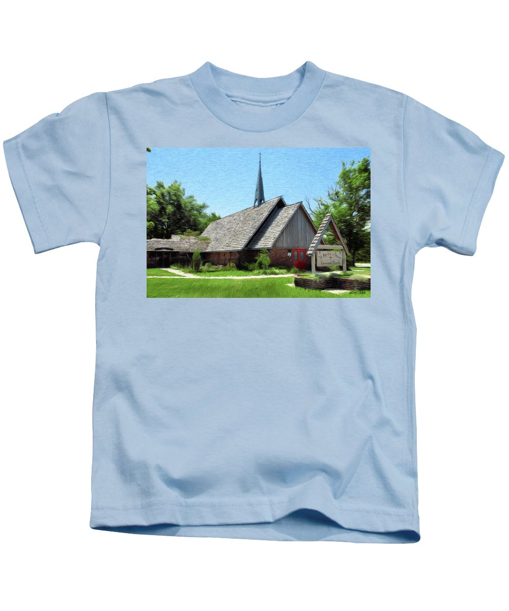 Architecture Kids T-Shirt featuring the painting St Martin Of Tours by Jeffrey Kolker
