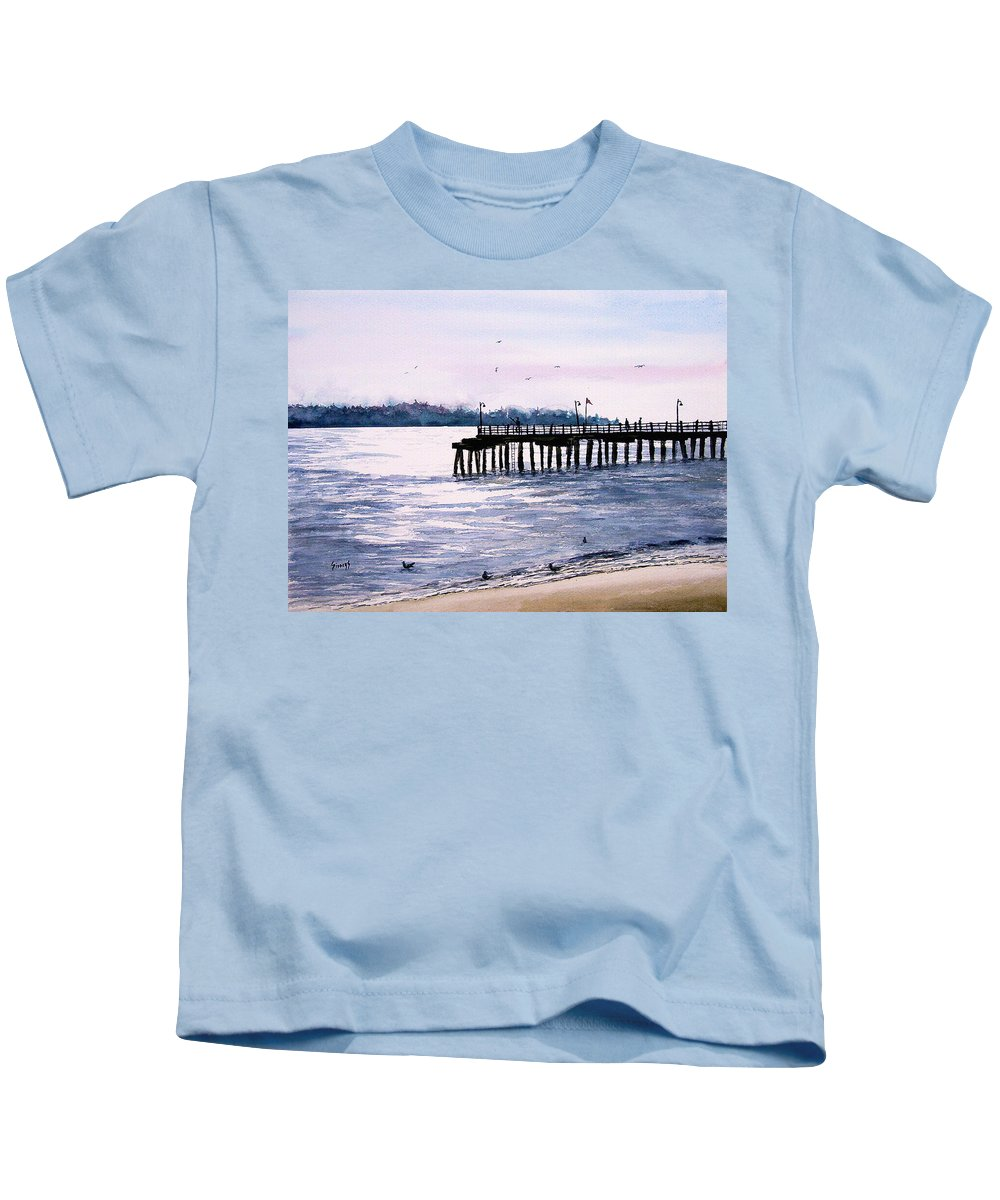 Fishing Kids T-Shirt featuring the painting St. Simons Island Fishing Pier by Sam Sidders