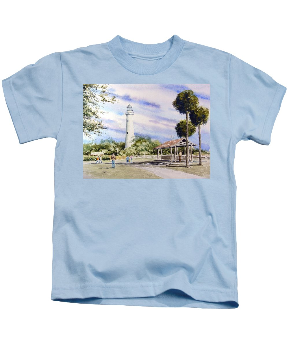 Lighthouse Kids T-Shirt featuring the painting St. Simons Island Lighthouse by Sam Sidders
