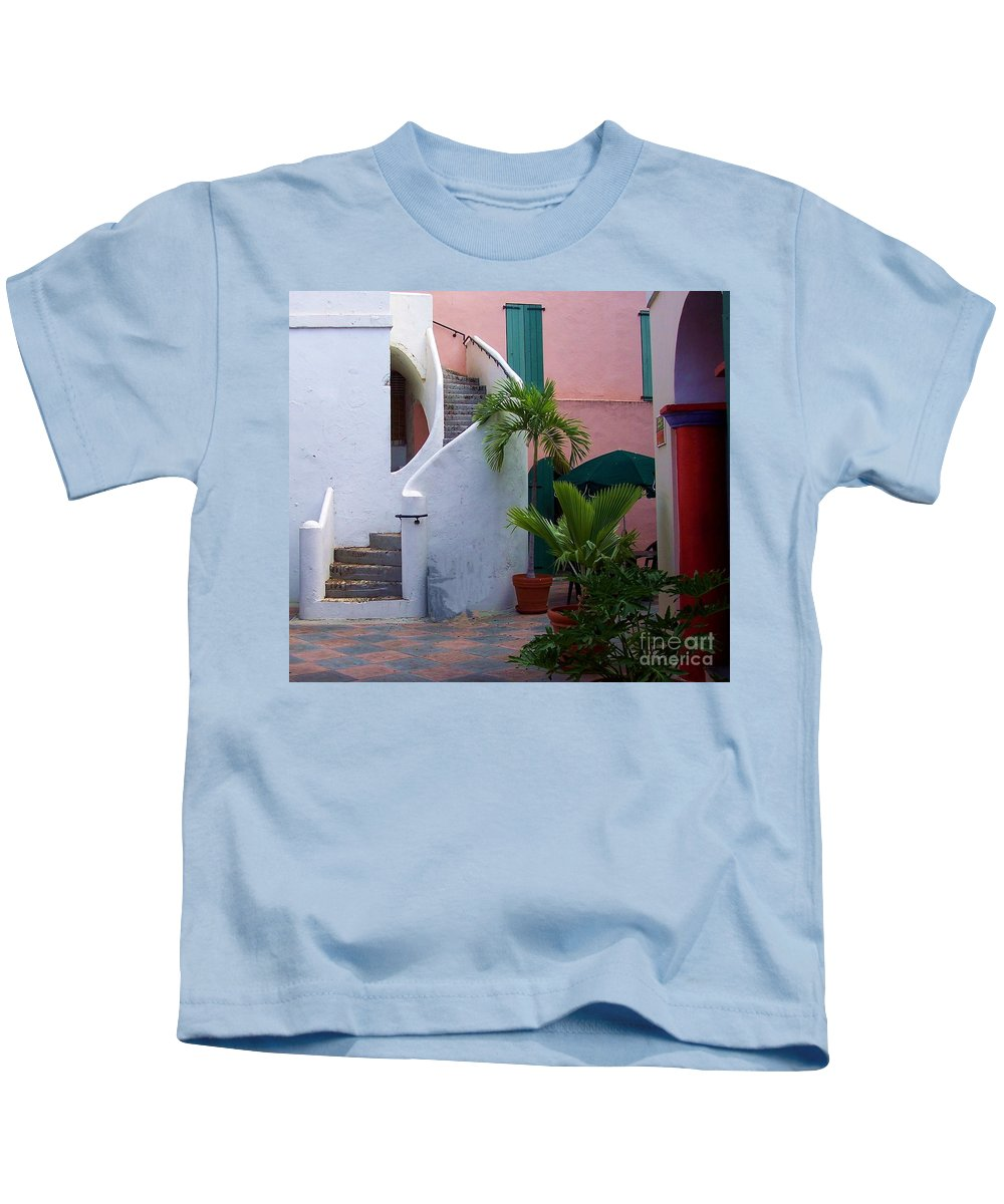 Architecture Kids T-Shirt featuring the photograph St. Thomas Courtyard by Debbi Granruth