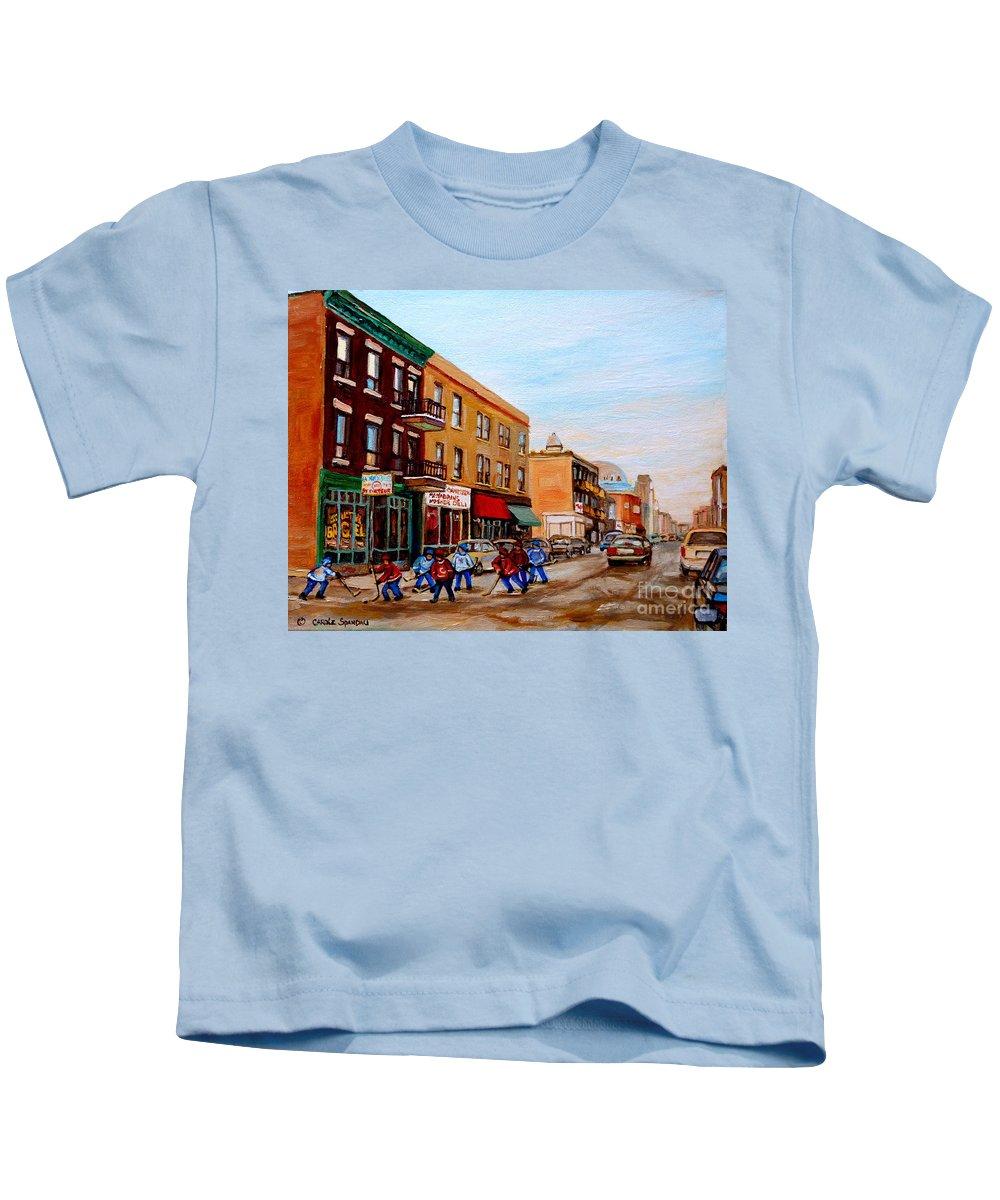 St.viateur Bagel Kids T-Shirt featuring the painting St. Viateur Bagel Hockey Game by Carole Spandau