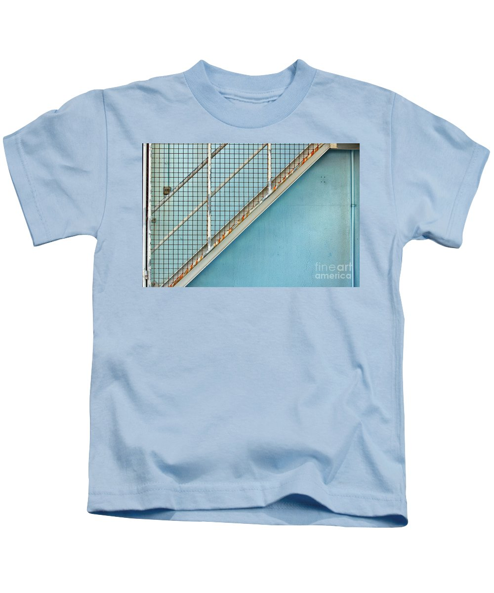 Stairs Kids T-Shirt featuring the photograph Stairs On Blue Wall by Stephen Mitchell