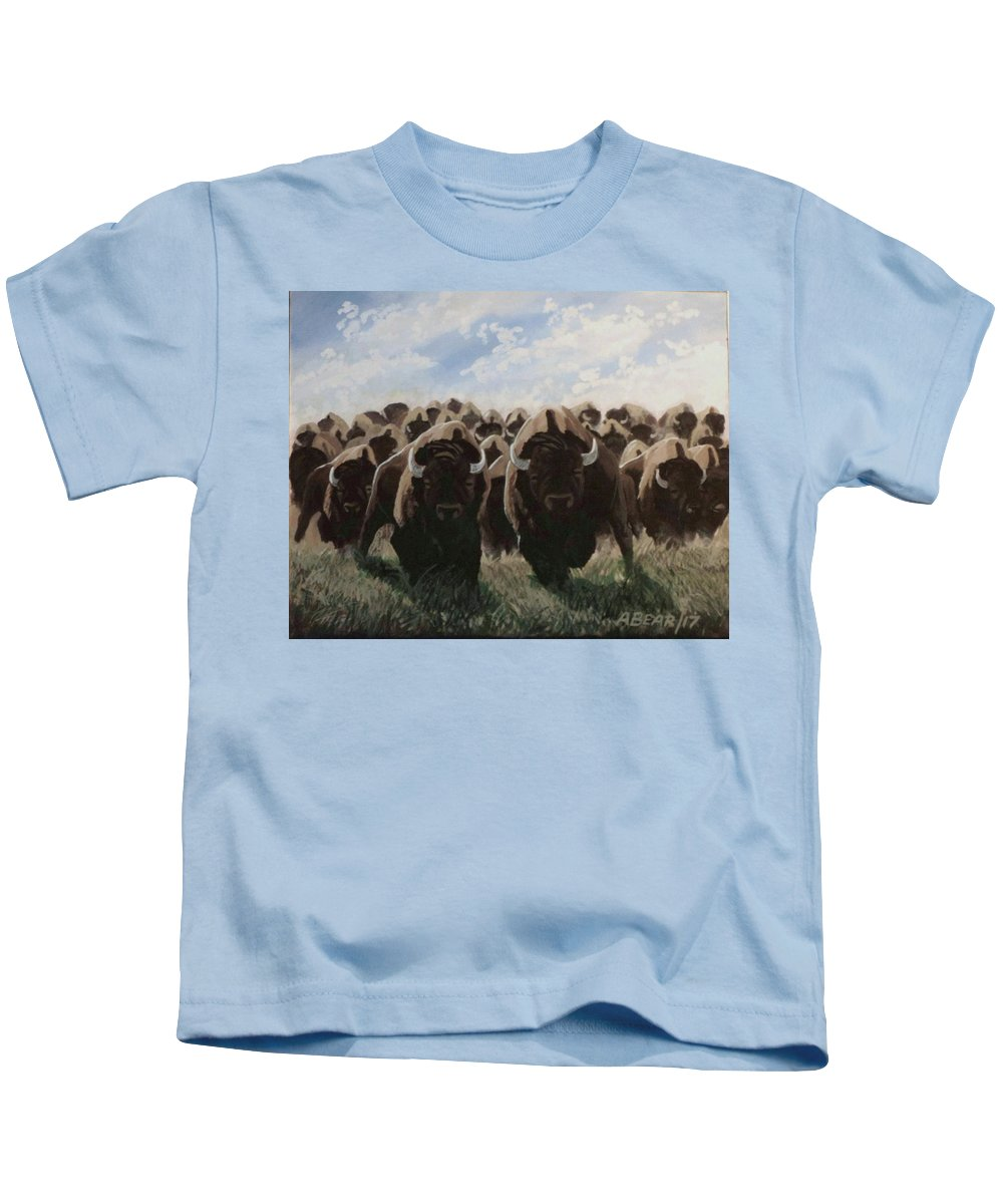 Bison Stampede Kids T-Shirt featuring the painting Stampede by Anthony Bear