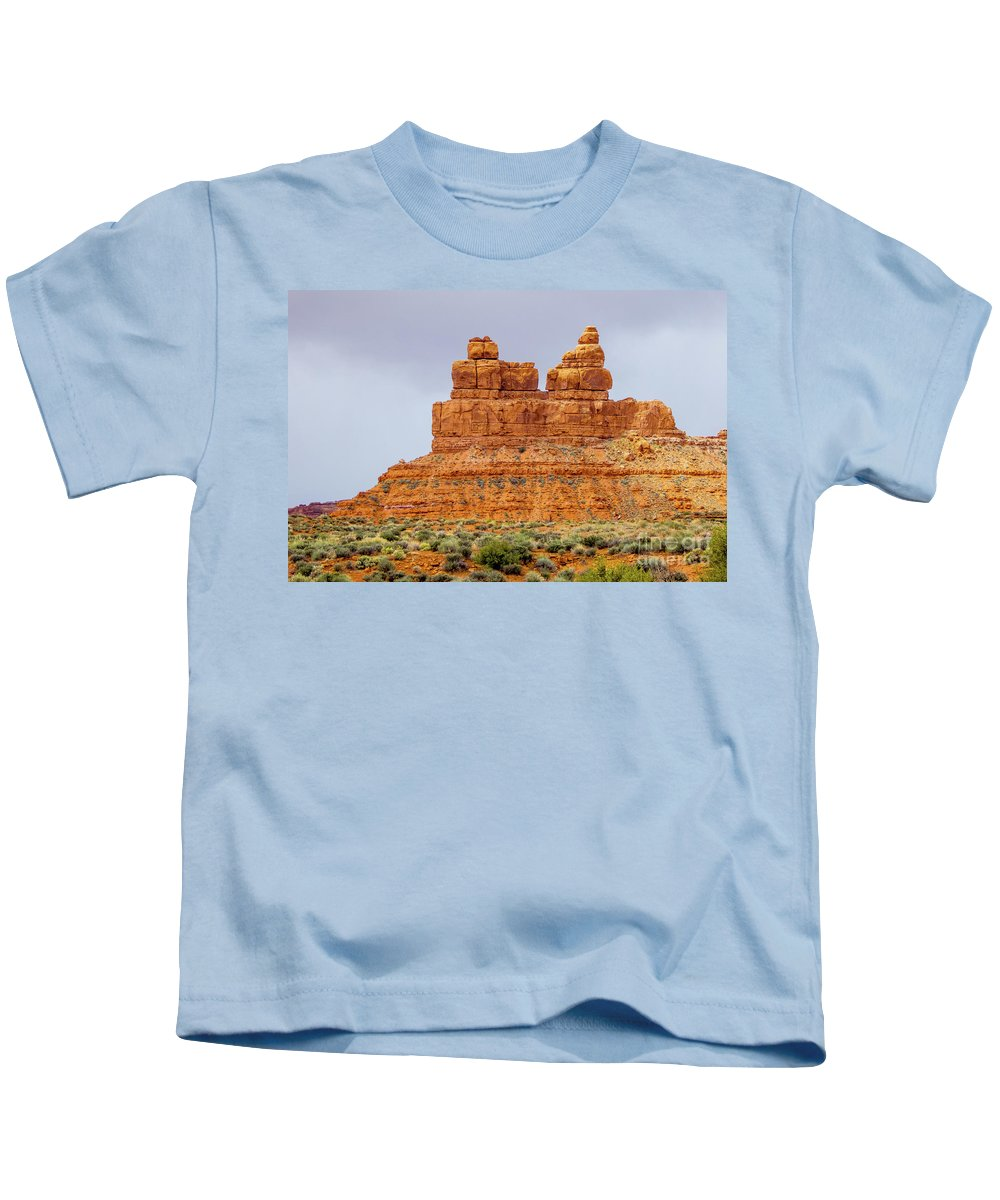 Valley Of The Gods Kids T-Shirt featuring the photograph Standing Strong by Jerry Sellers