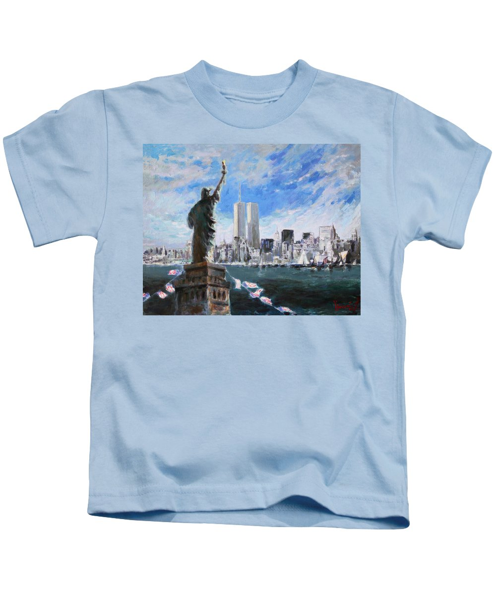 Landscape Kids T-Shirt featuring the painting Statue Of Liberty And Tween Towers by Ylli Haruni