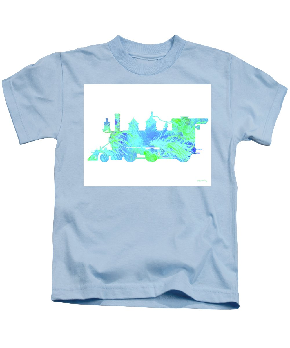 Ken Kids T-Shirt featuring the painting Steam Locomotive Art 3 by Ken Figurski