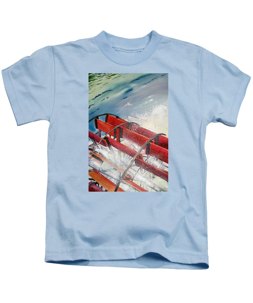 Paddlewheeler Kids T-Shirt featuring the painting Sternwheeler Splash by Karen Stark