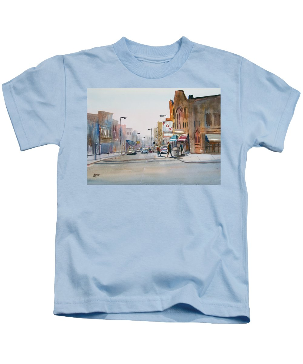 Watercolor Kids T-Shirt featuring the painting Steven's Point - Downtown by Ryan Radke