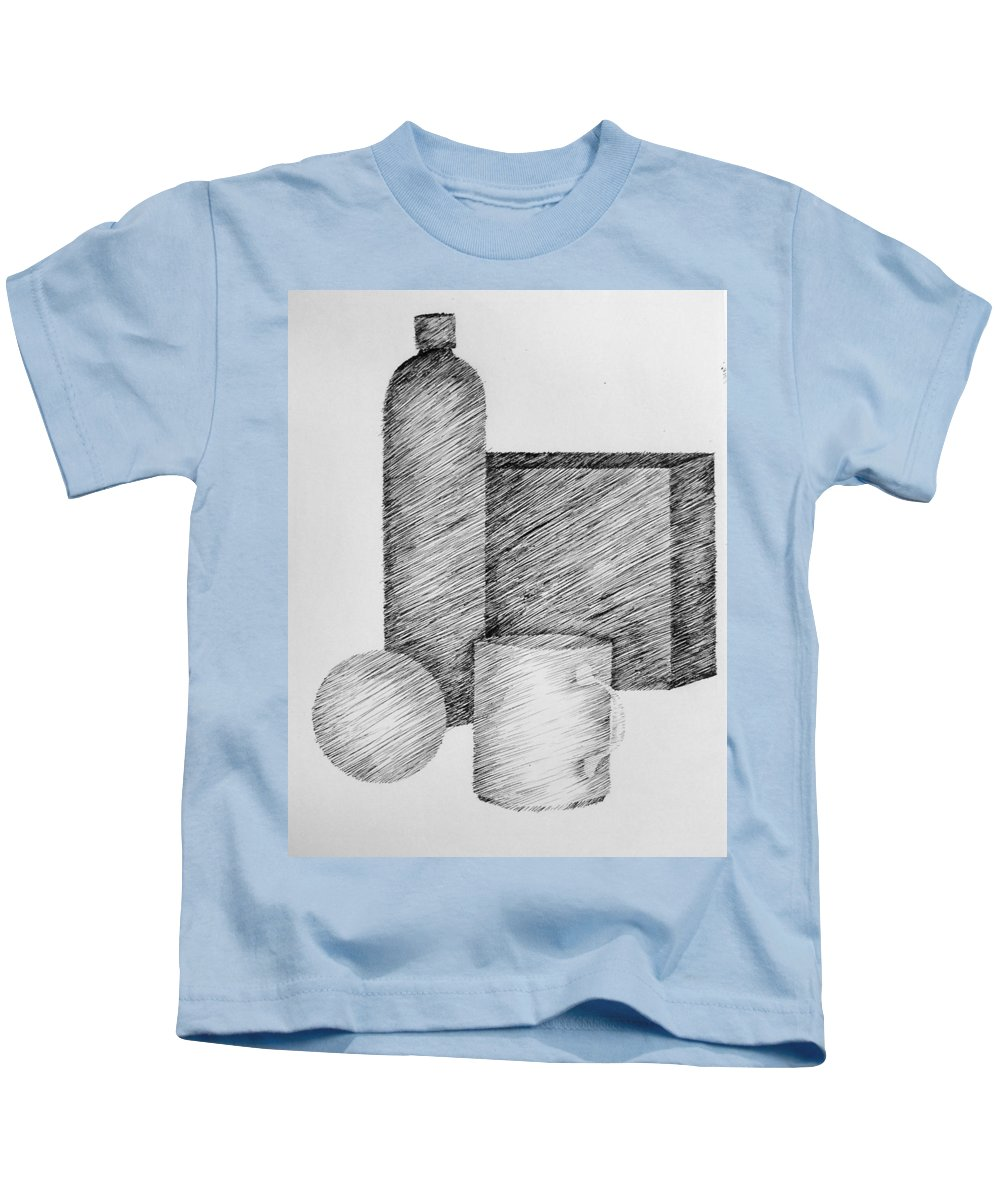 Still Life Kids T-Shirt featuring the drawing Still Life With Cup Bottle And Shapes by Michelle Calkins