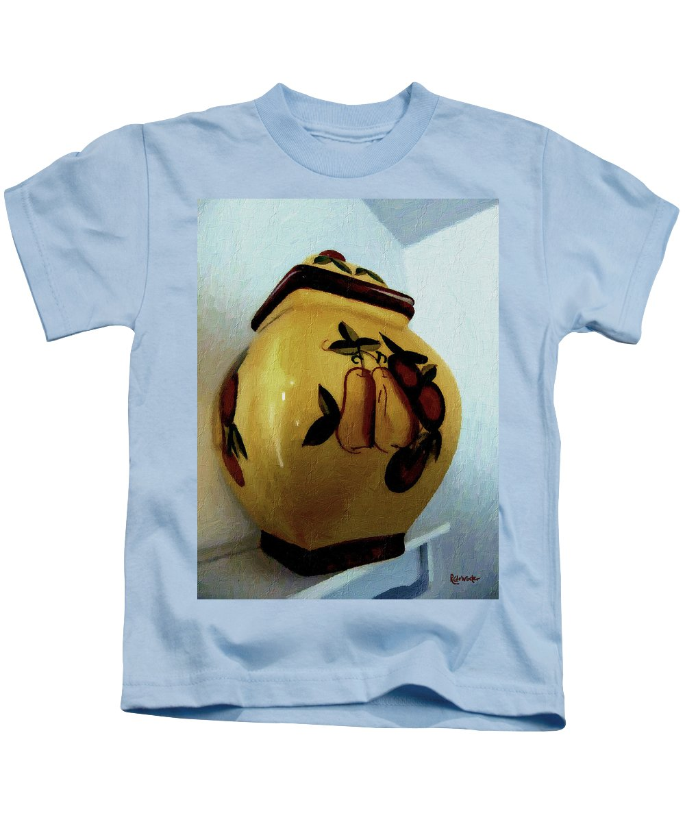 Jar Kids T-Shirt featuring the painting Still Life With Fruited Pottery by RC DeWinter