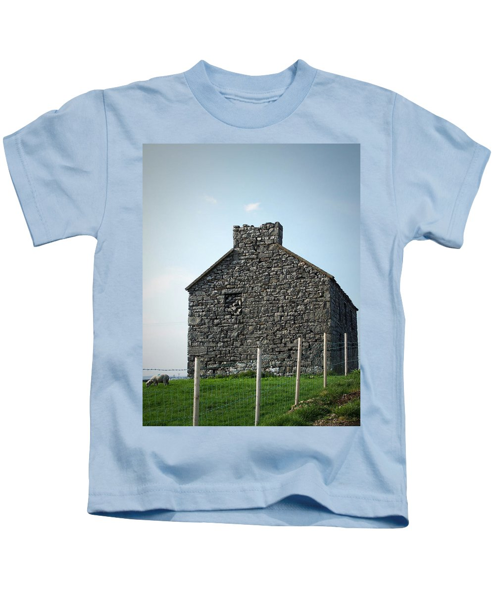 Irish Kids T-Shirt featuring the photograph Stone Building Maam Ireland by Teresa Mucha