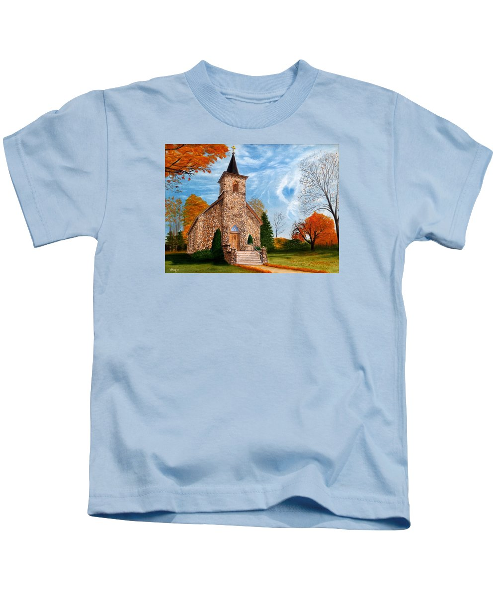 Peaceful Kids T-Shirt featuring the painting Stone Church by Vicky Path