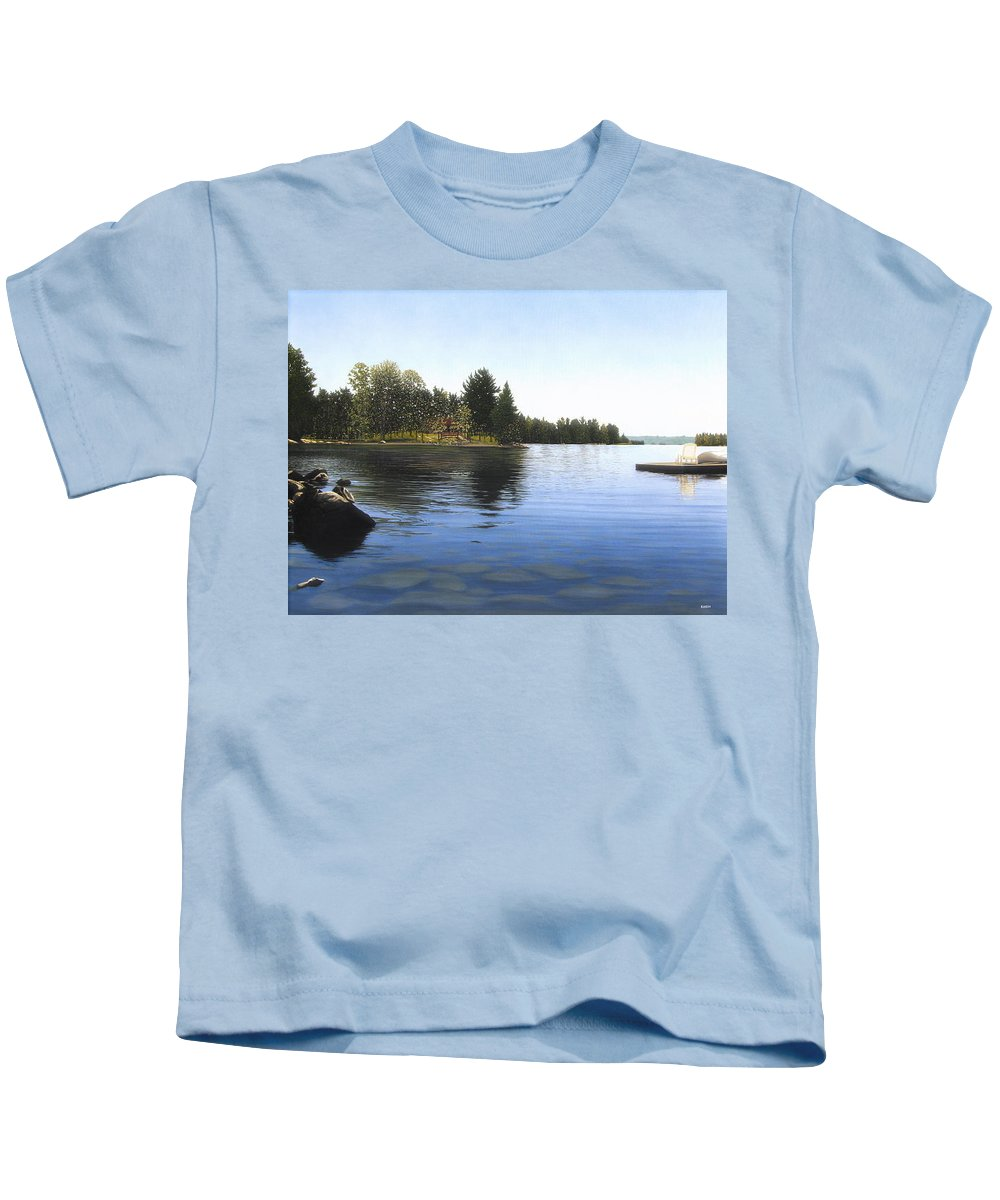 Landscapes Kids T-Shirt featuring the painting Stoney Lake by Kenneth M Kirsch