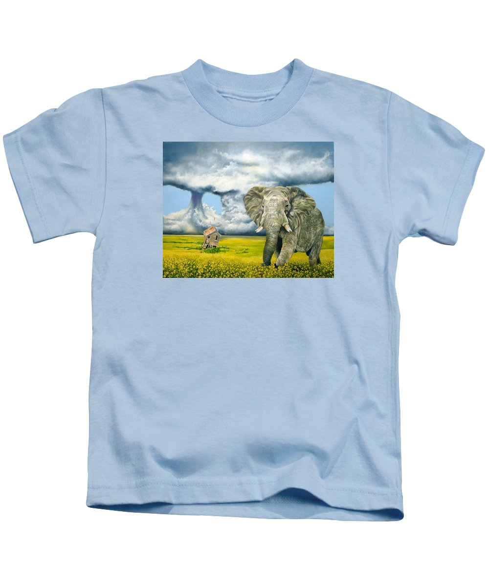 Elephant Kids T-Shirt featuring the painting Storm Field by Gordon Behr