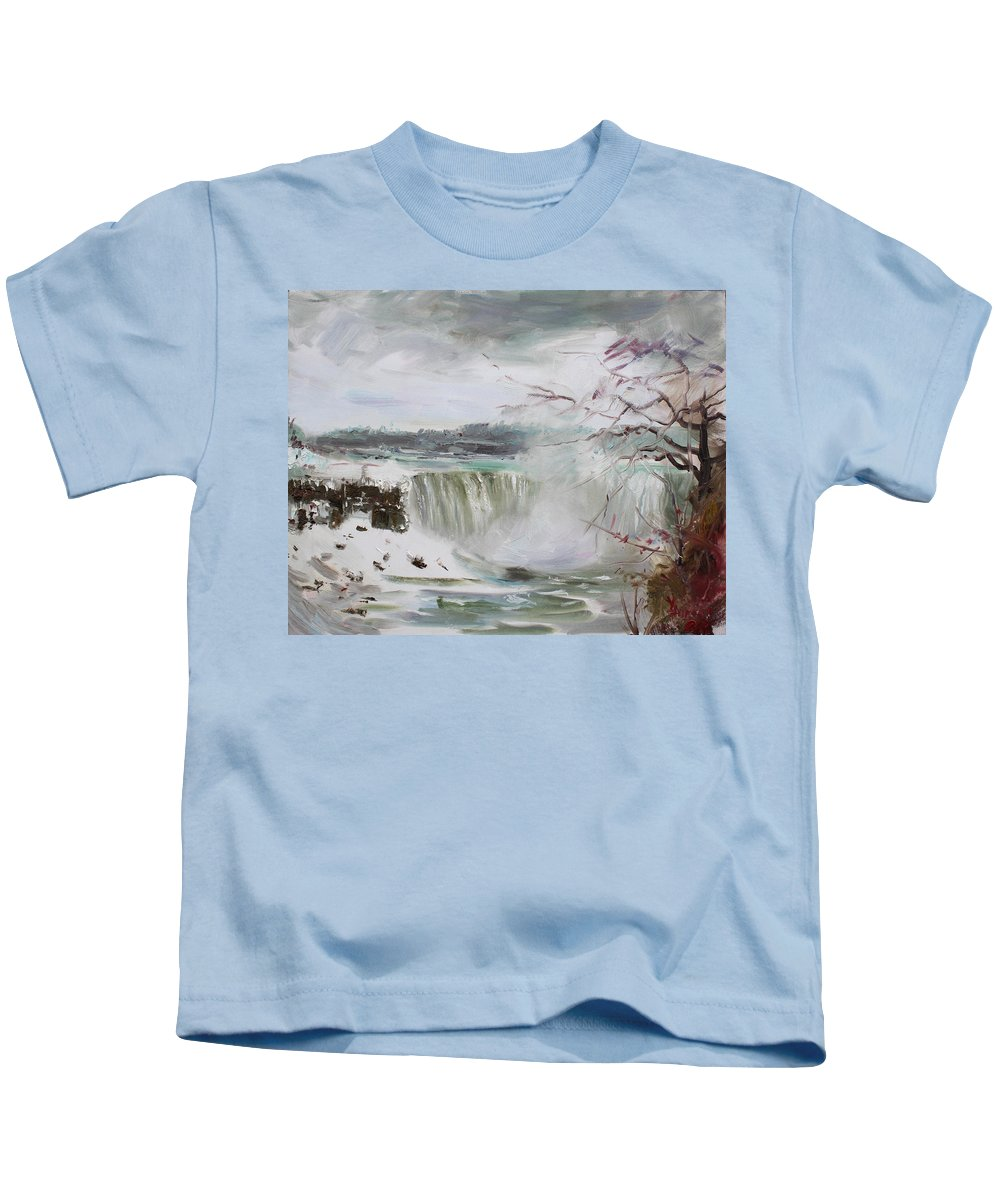 Landscape Kids T-Shirt featuring the painting Storm In Niagara Falls by Ylli Haruni
