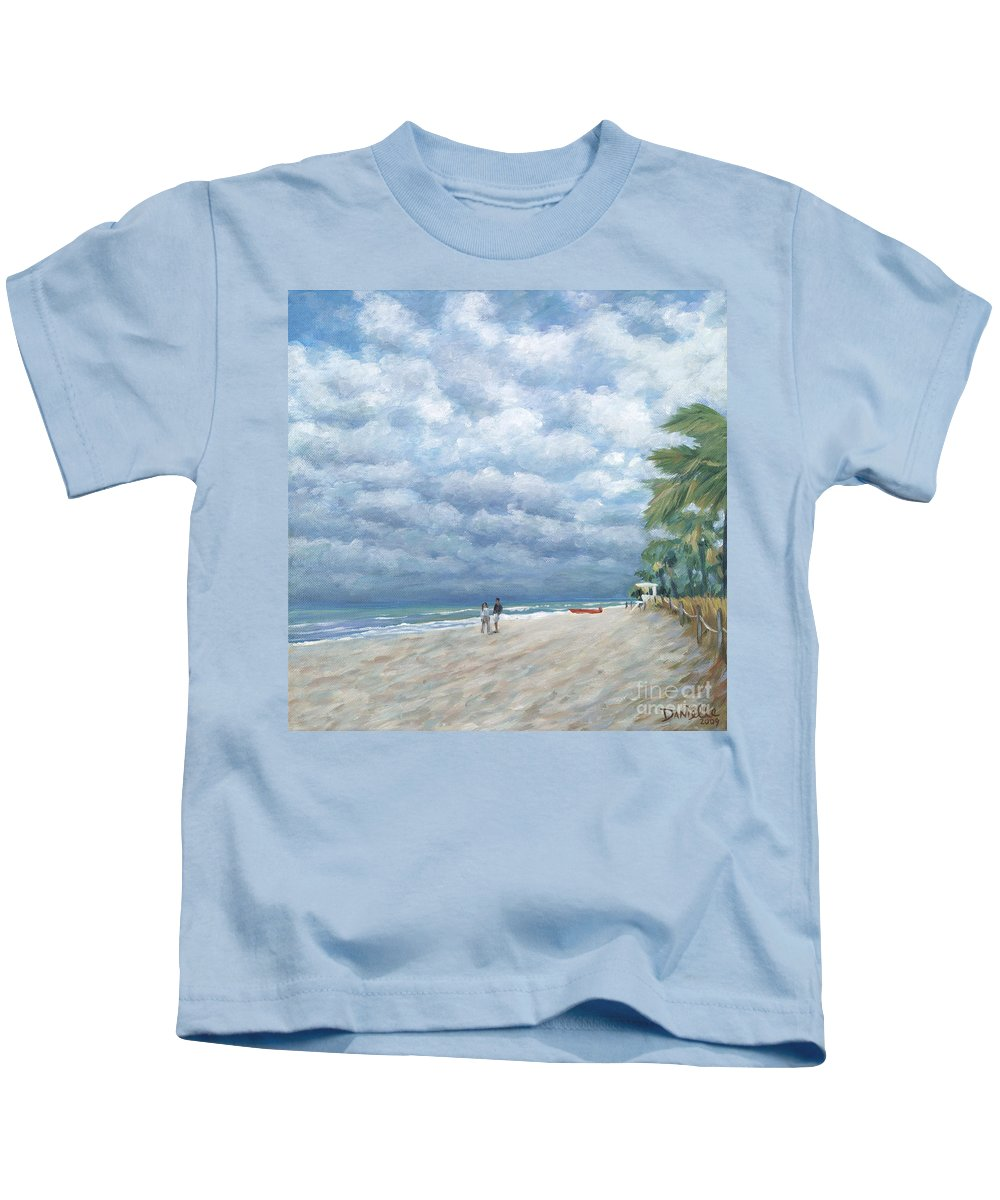 Fort Lauderdale Kids T-Shirt featuring the painting Storm On The Horizon by Danielle Perry