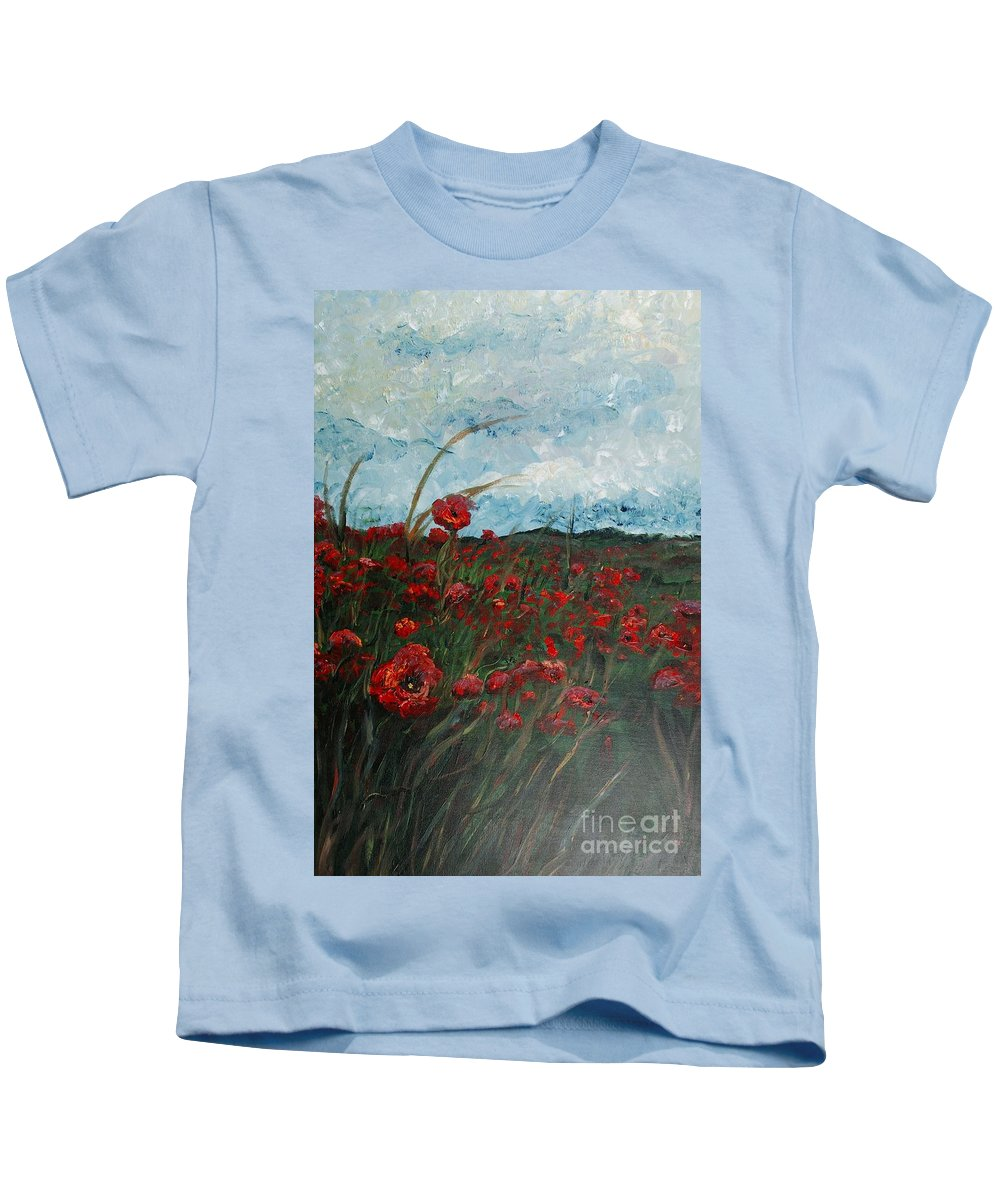 Poppies Kids T-Shirt featuring the painting Stormy Poppies by Nadine Rippelmeyer