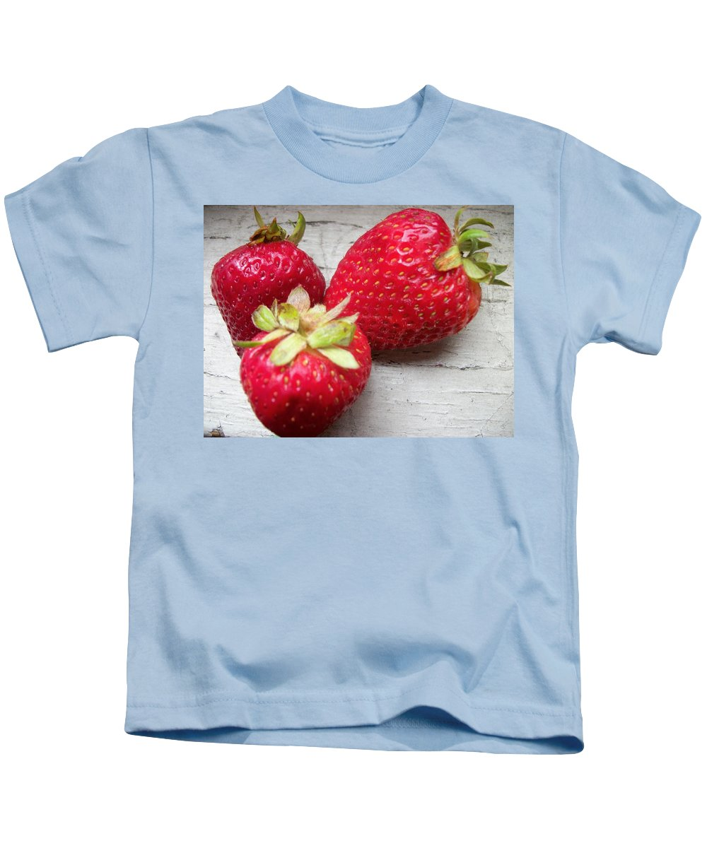 Kids T-Shirt featuring the photograph Strawberries by Jan Gilmore