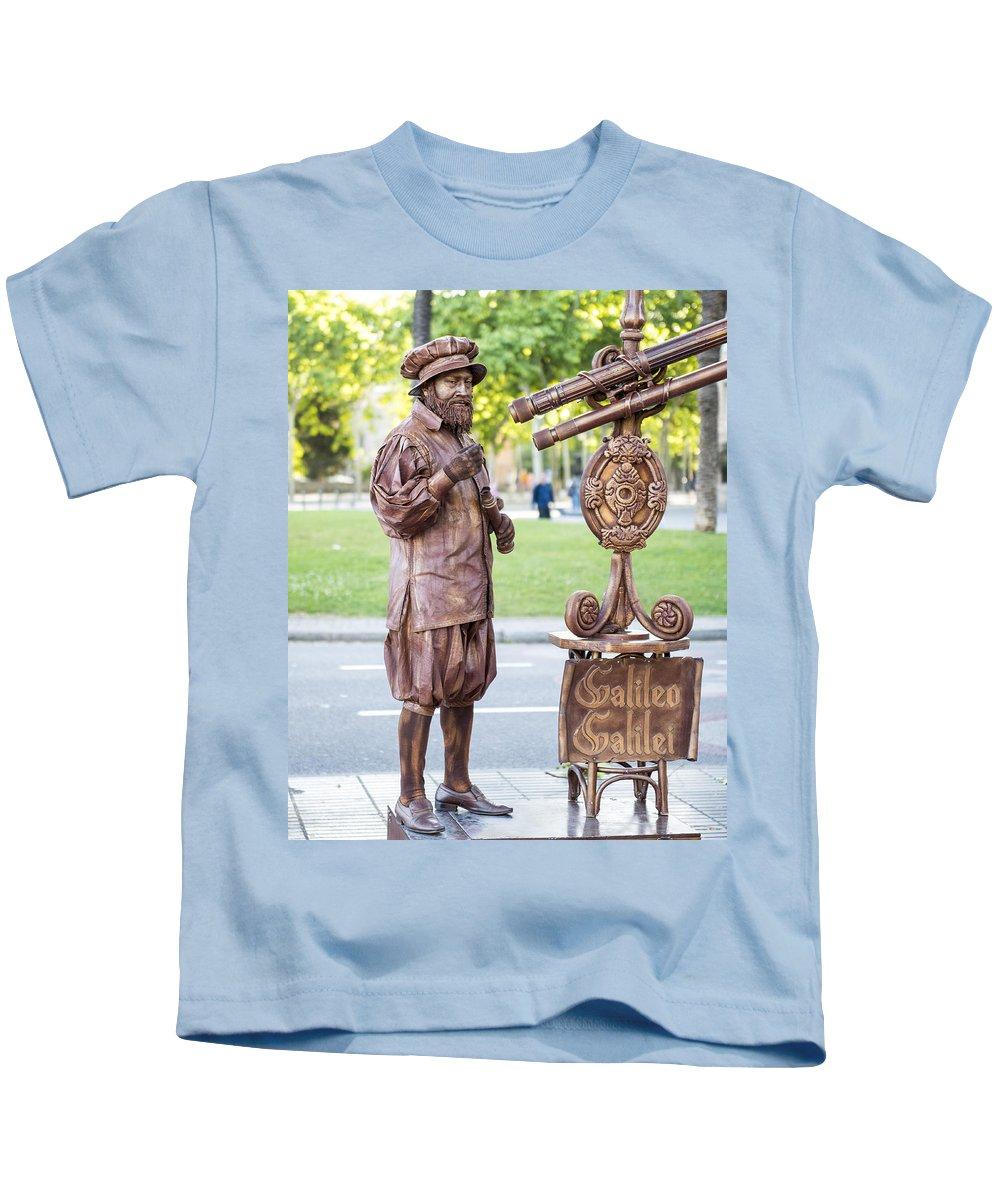 Barcelona Kids T-Shirt featuring the photograph Street Entertainer - La Rambla - Barcelona Spain by Jon Berghoff