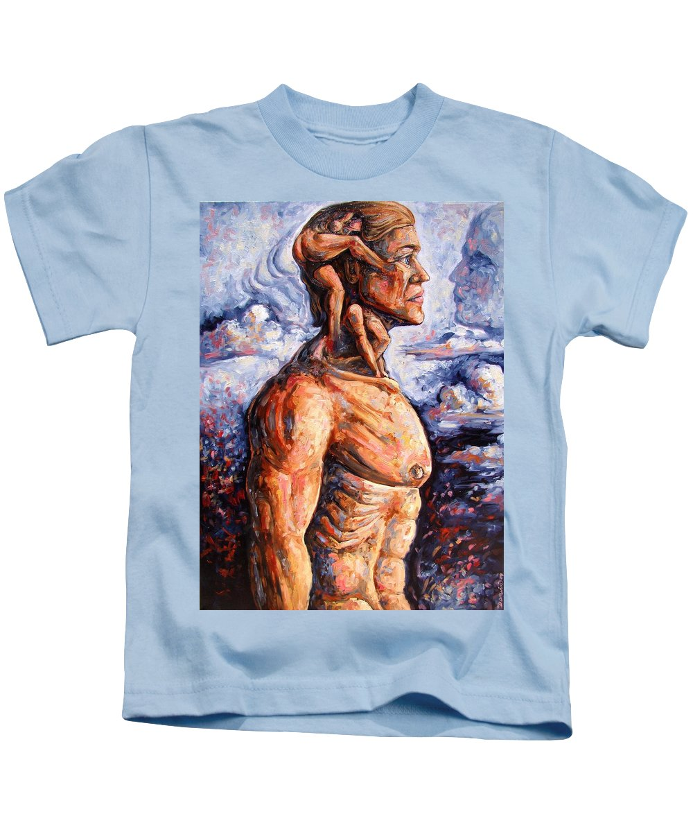 Surrealism Kids T-Shirt featuring the painting Stuck On You In My Unconscious Paradise by Darwin Leon