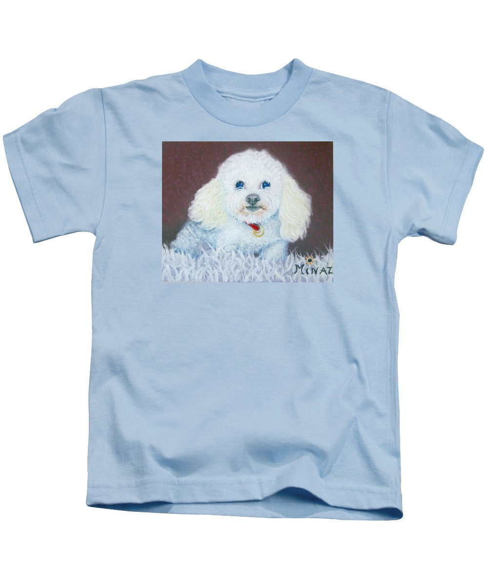 Dog Kids T-Shirt featuring the painting Such A Charm by Minaz Jantz