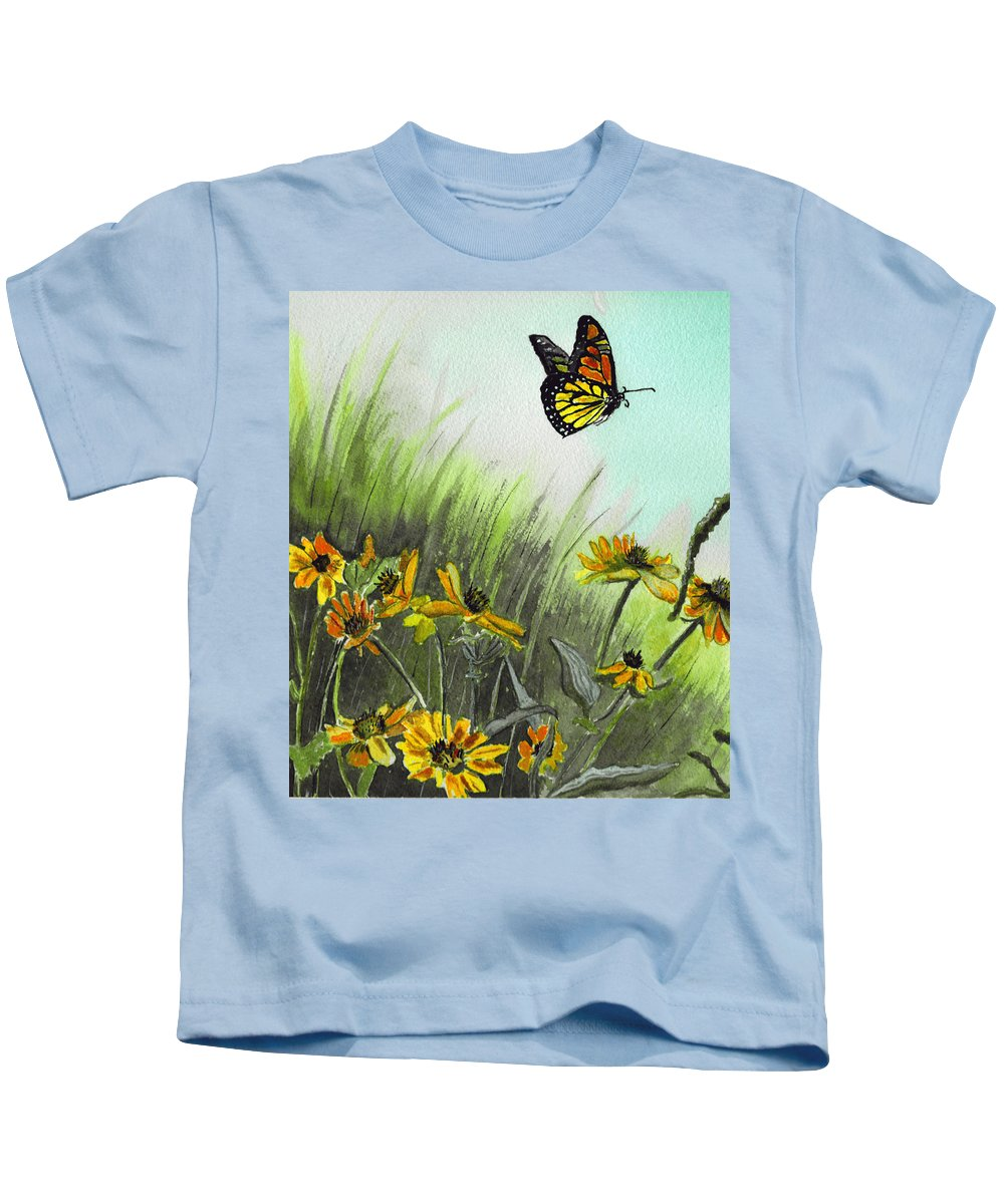 Landscape Kids T-Shirt featuring the painting Summer Flight by Brenda Owen
