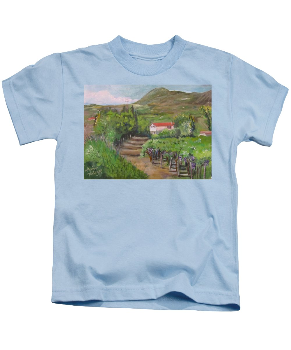 Ocone Kids T-Shirt featuring the painting Sunday Morning At Ocone Vini Montesarchio Italy by Maria Milazzo