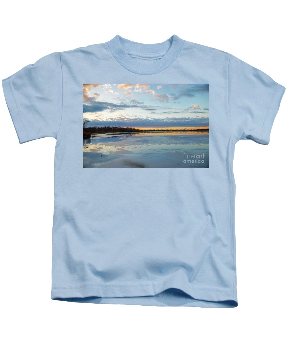 Water Kids T-Shirt featuring the photograph Sundown With Water On Ice by David Arment