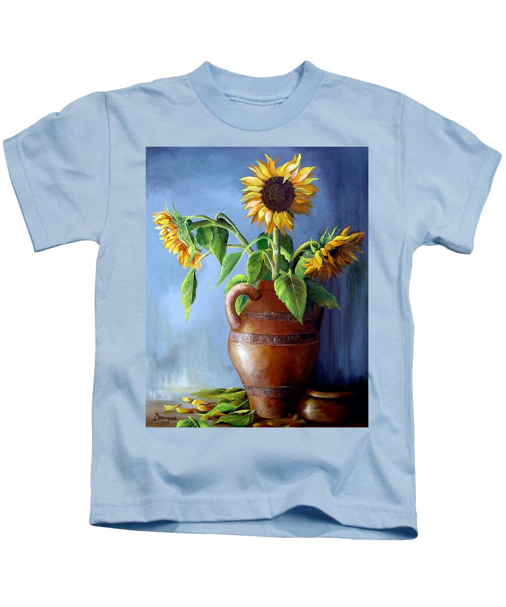 Sunflowers Kids T-Shirt featuring the painting Sunflowers In Vase by Dominica Alcantara