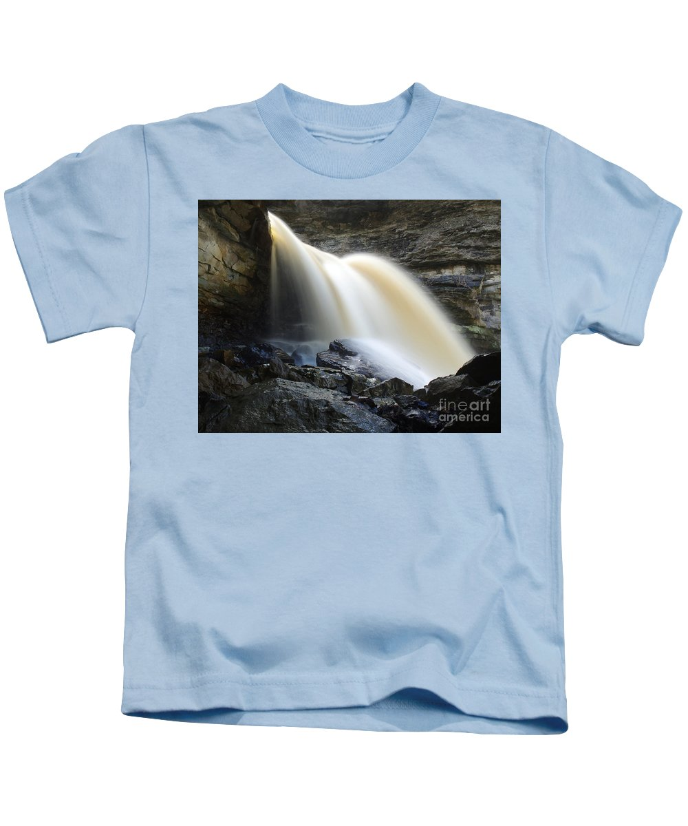 Mccormick's Creek Waterfall Kids T-Shirt featuring the photograph Sunlit Falls by Kitrina Arbuckle