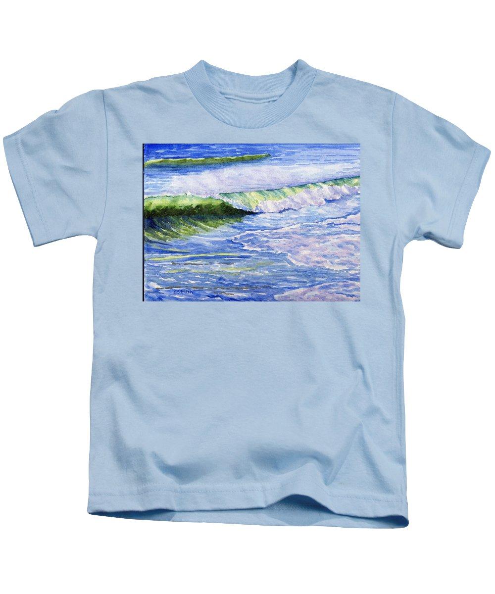 Seascape Kids T-Shirt featuring the painting Sunlit Surf by Sharon E Allen