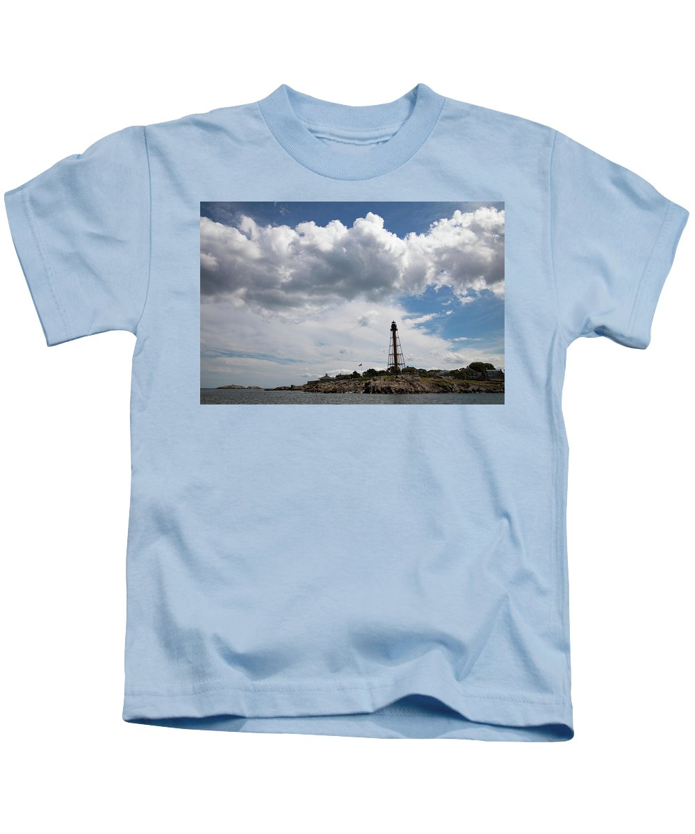 Chandler Hovey Park Kids T-Shirt featuring the photograph Sunny Day At Marblehead Lighthouse by Jeff Folger