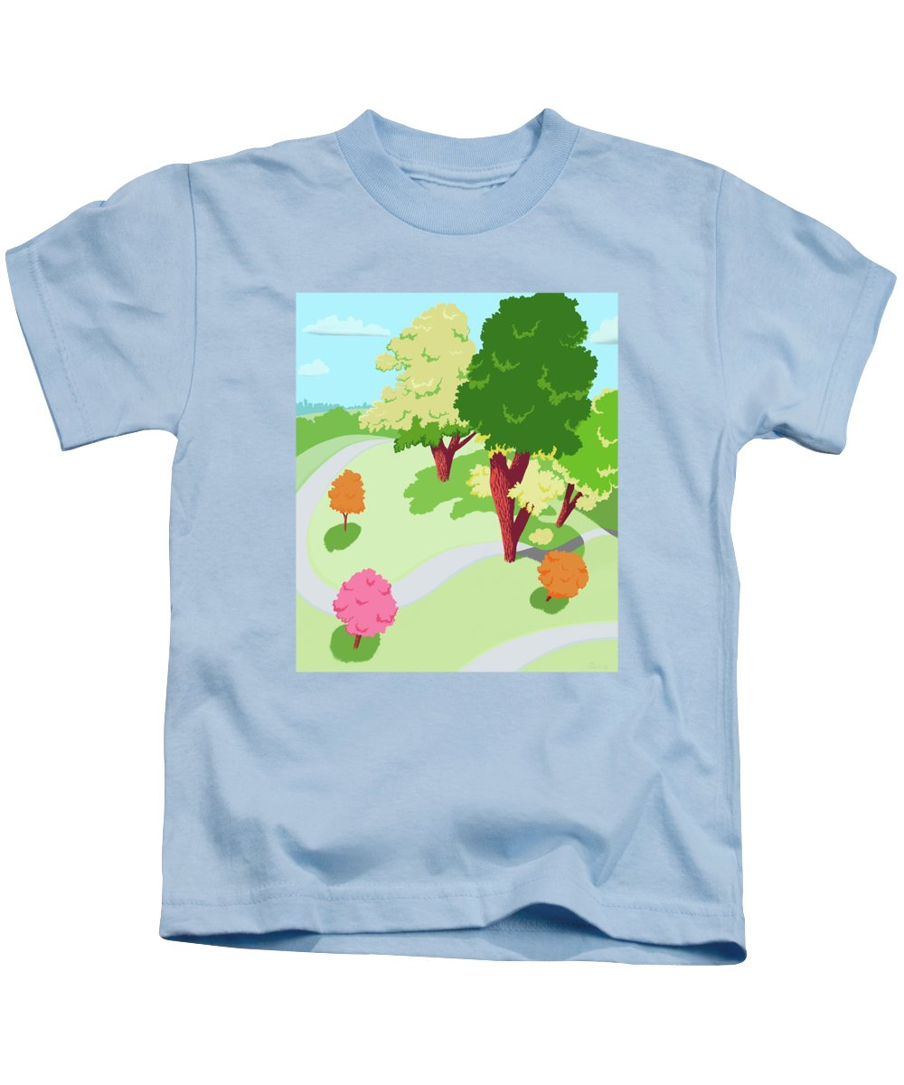Park Kids T-Shirt featuring the painting Sunnyside Park In The Spring by Little Bunny Sunshine