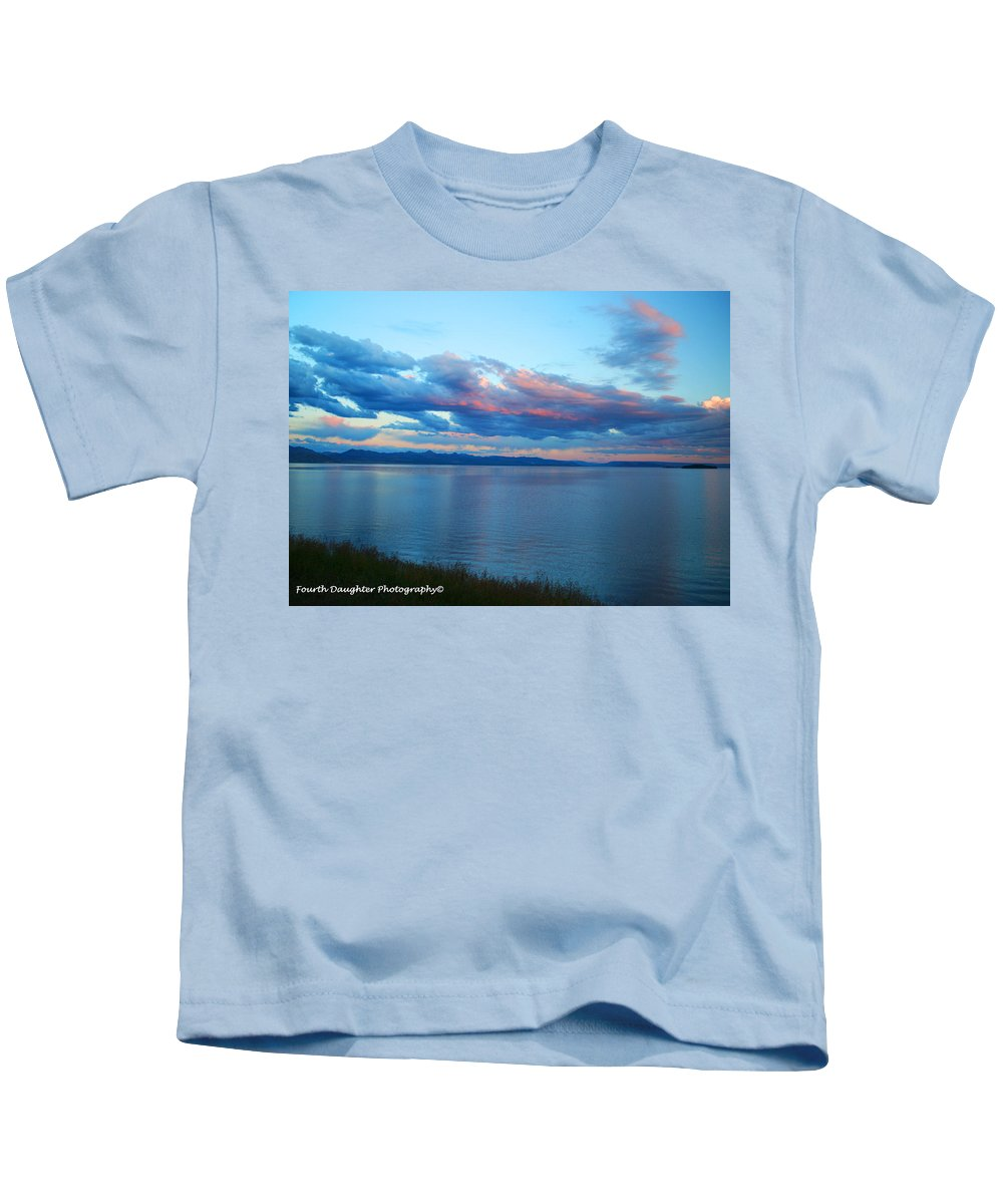 National Park Kids T-Shirt featuring the photograph Sunrise Over Lake Yellowstone by Diane Shirley